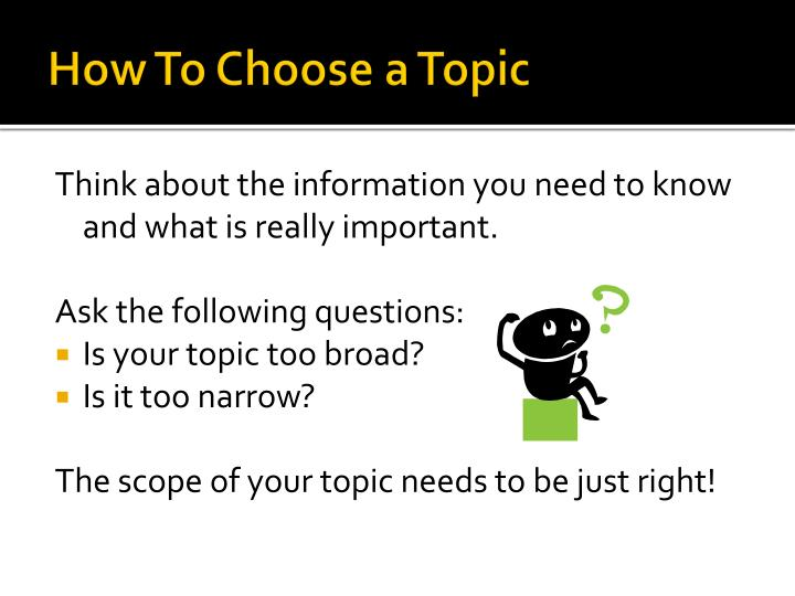 How To Choose a Topic