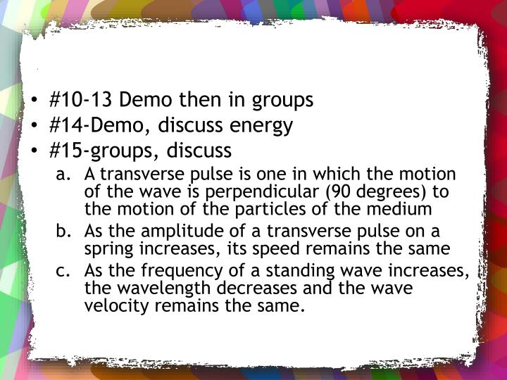 #10-13 Demo then in groups
