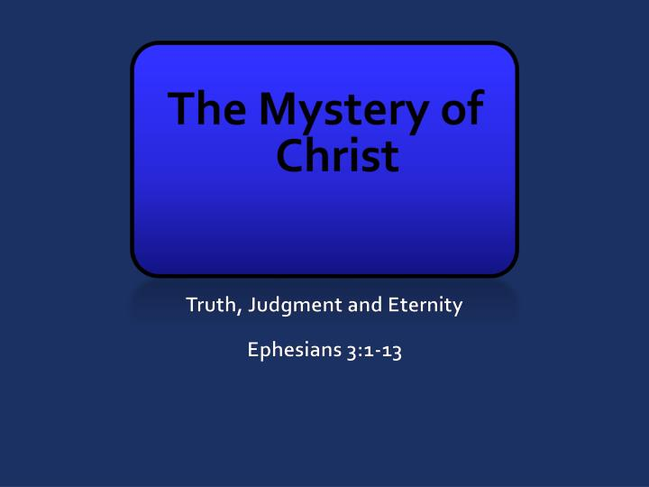 the mystery of christ n.