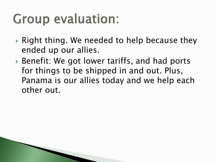 Group evaluation: