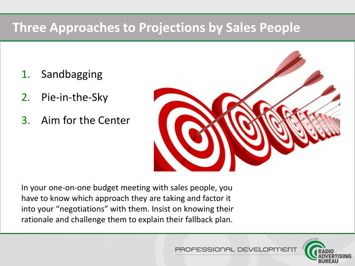 Three Approaches to Projections by Sales People