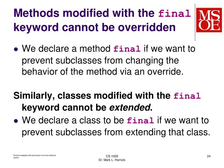 Methods modified with the