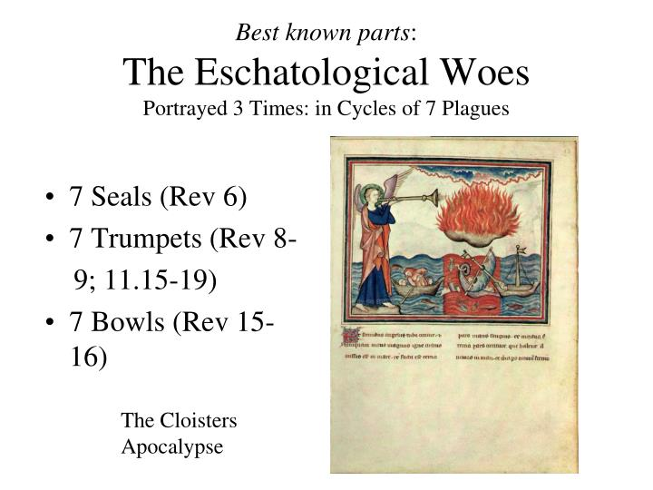 Best known parts the eschatological woes portrayed 3 times in cycles of 7 plagues