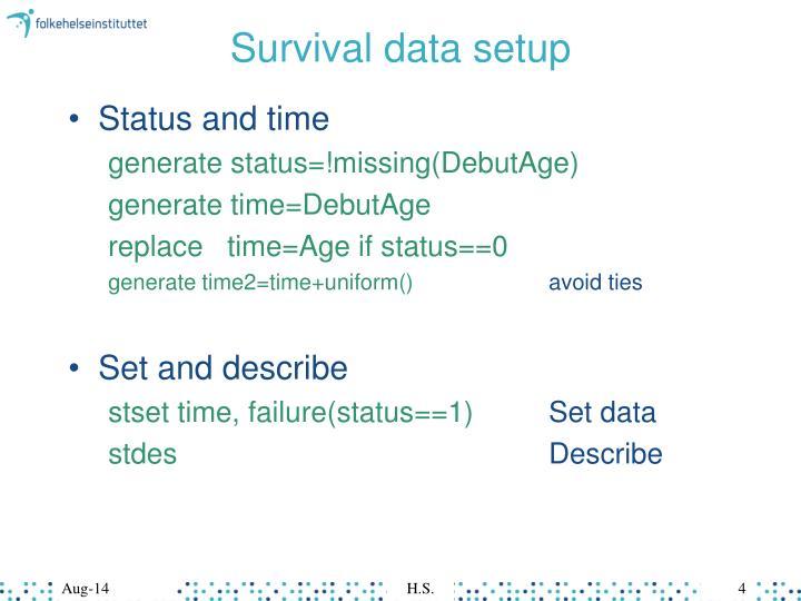 Survival data setup