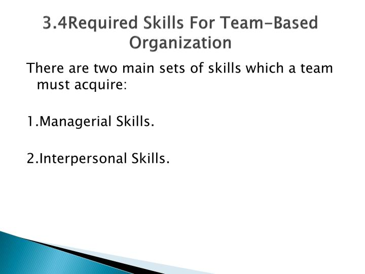 3.4Required Skills For Team-Based Organization