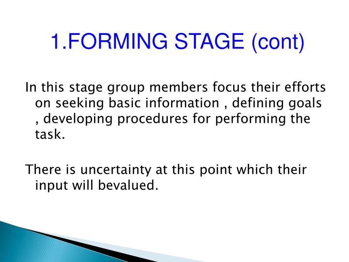 1.FORMING STAGE (cont)