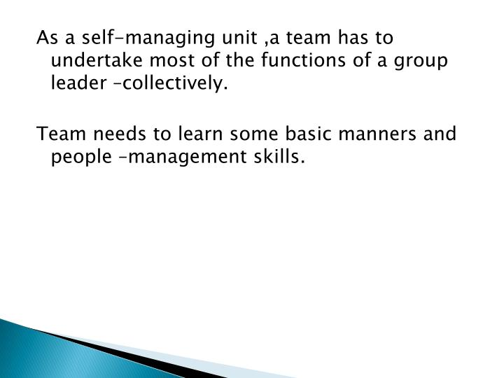 As a self-managing unit ,a team has to undertake most of the functions of a group leader –collectively.