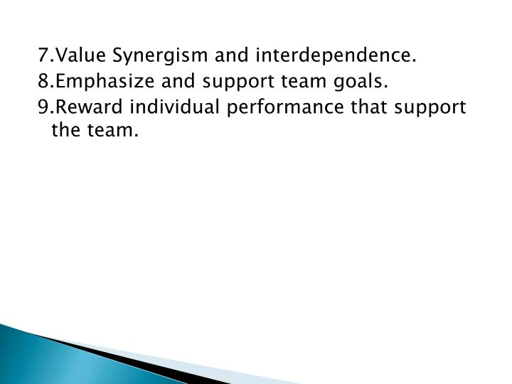 7.Value Synergism and interdependence.