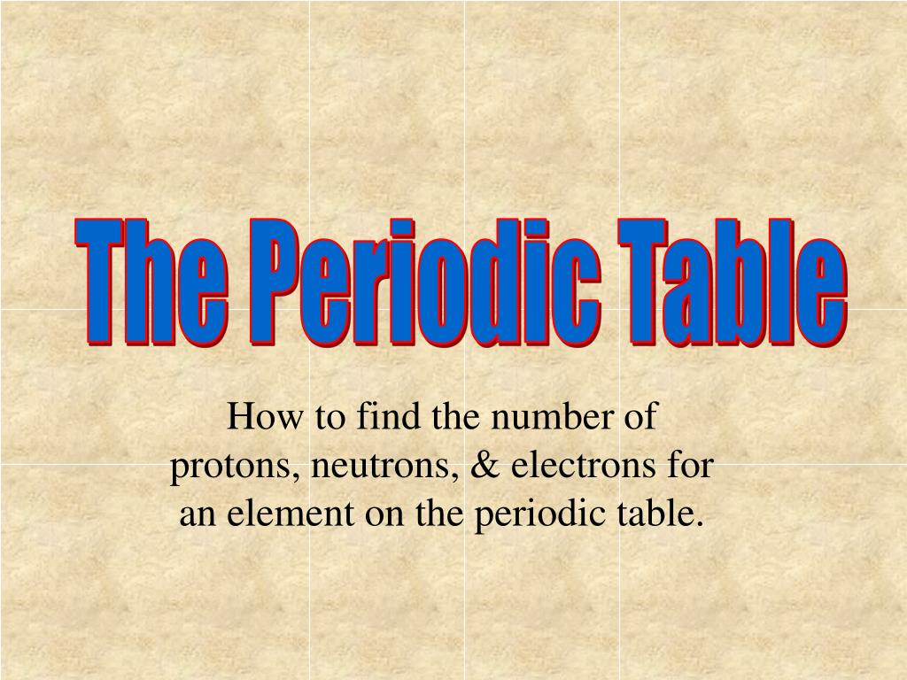 Ppt How To Find The Number Of Protons Neutrons Electrons For