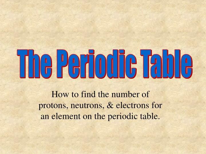 Ppt how to find the number of protons neutrons electrons for the periodic table urtaz Gallery