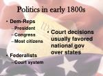 politics in early 1800s