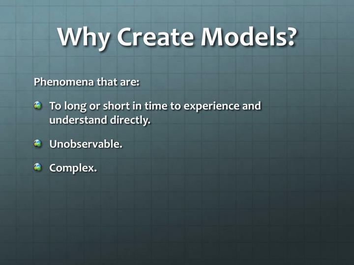 Why Create Models?