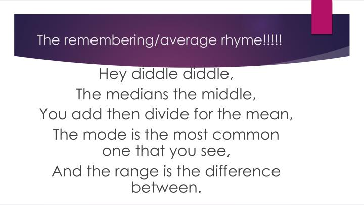 The remembering/average rhyme!!!!!