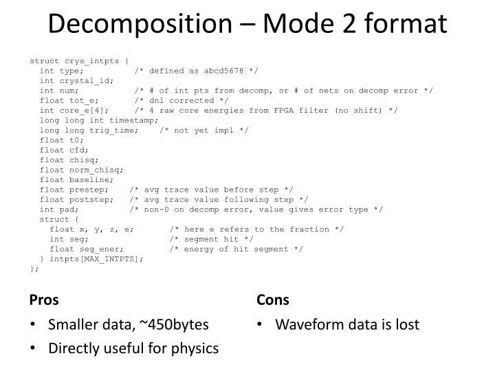 Decomposition – Mode 2 format