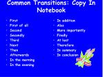 common transitions copy in notebook