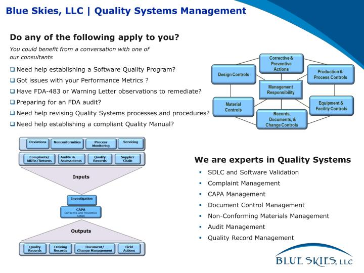 Blue Skies, LLC   Quality Systems Management