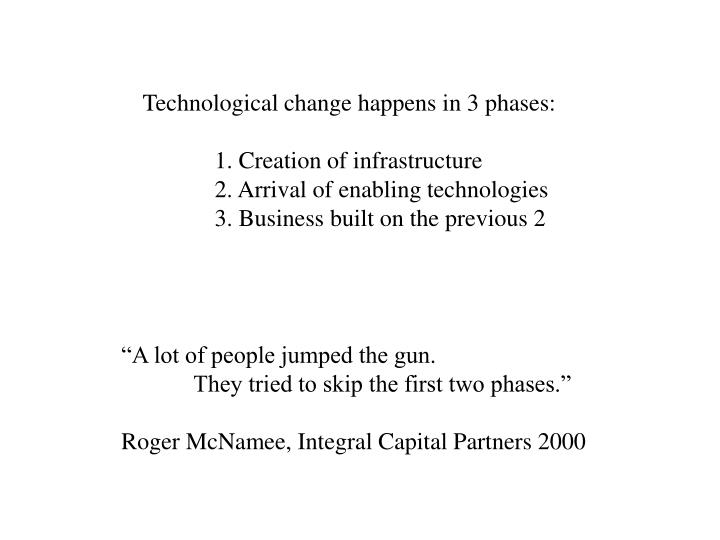 Technological change happens in 3 phases:
