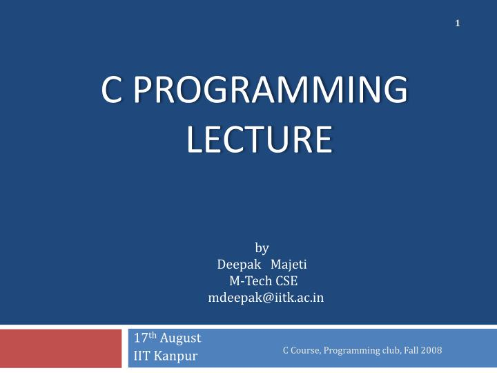 c programming lecture n.
