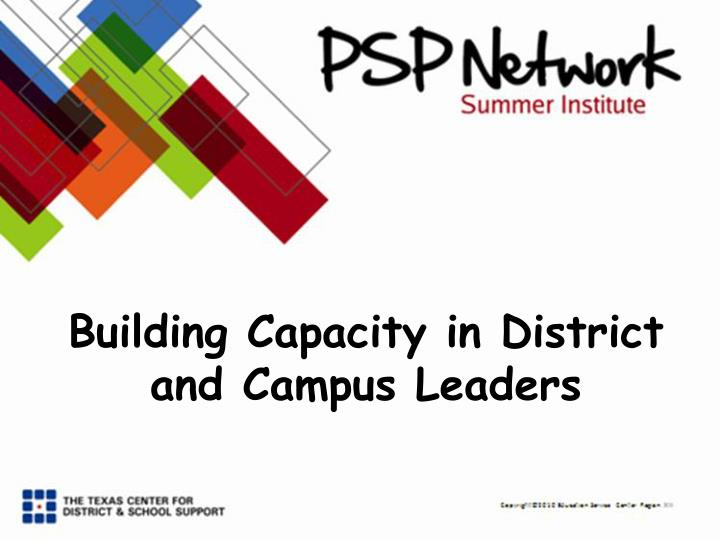building capacity in district and campus leaders n.