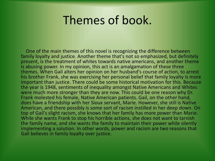 Themes of book.