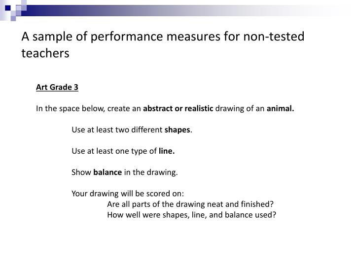 A sample of performance measures for non-tested teachers
