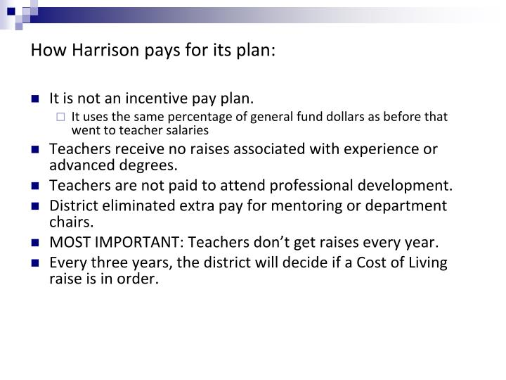 How Harrison pays for its plan:
