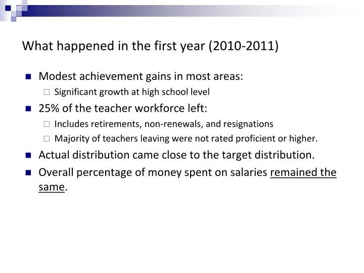 What happened in the first year (2010-2011)