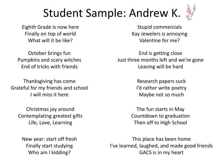 Student Sample: Andrew K.