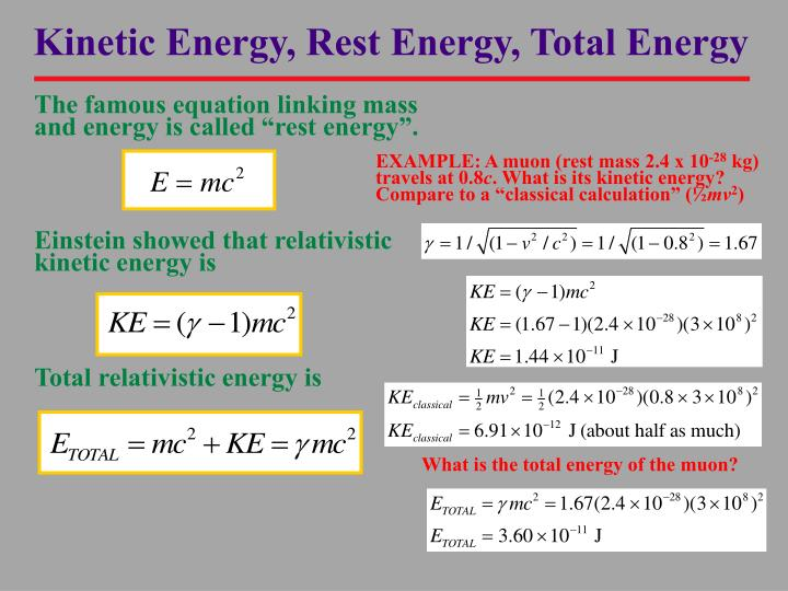 Kinetic Energy, Rest Energy, Total Energy