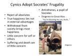 cynics adopt socrates frugality
