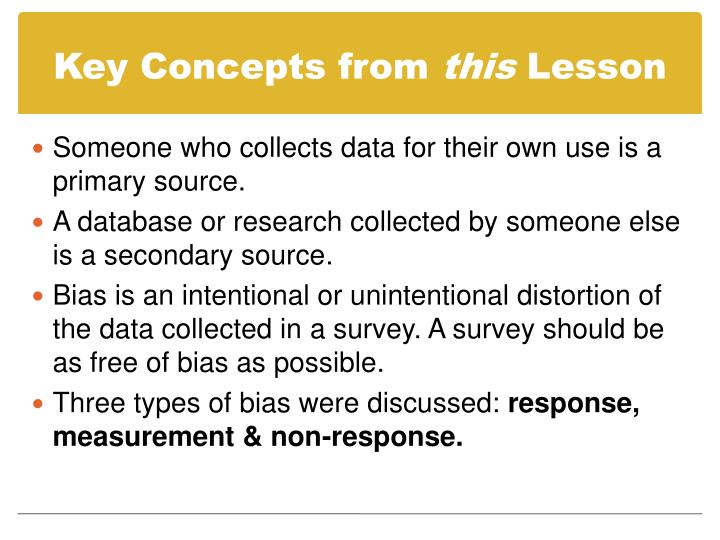 Key Concepts from