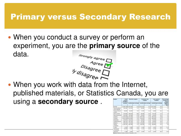 Primary versus Secondary Research