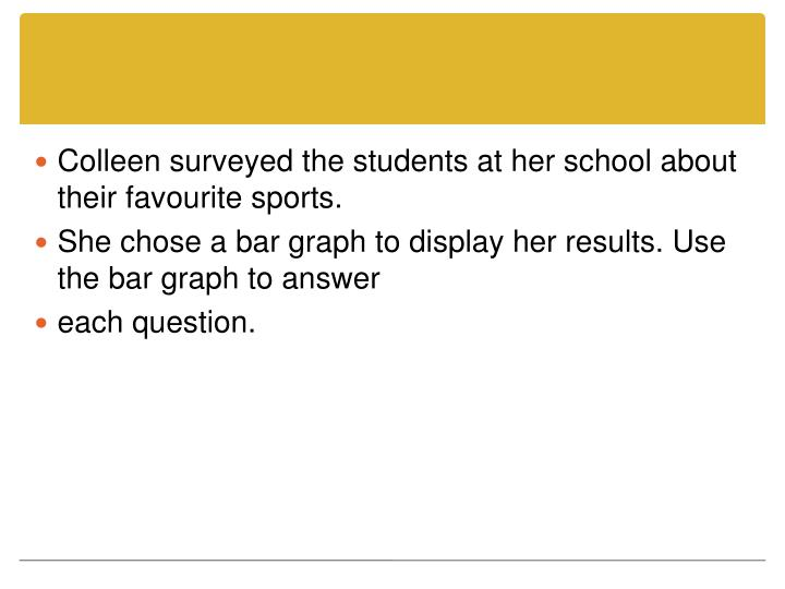Colleen surveyed the students at her school about their favourite sports.