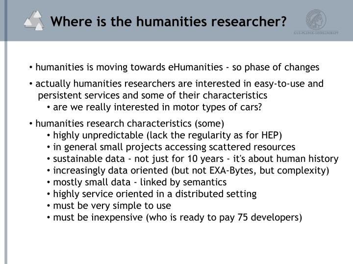 Where is the humanities researcher?