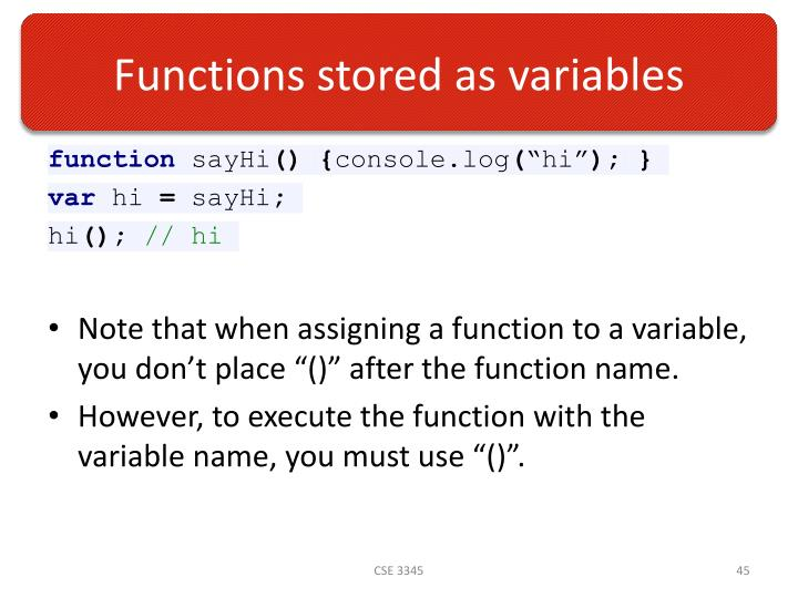 Functions stored as variables