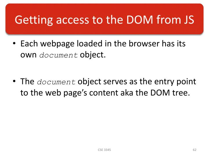 Getting access to the DOM from JS