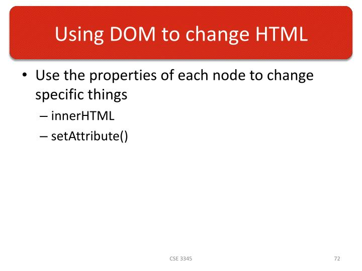 Using DOM to change HTML