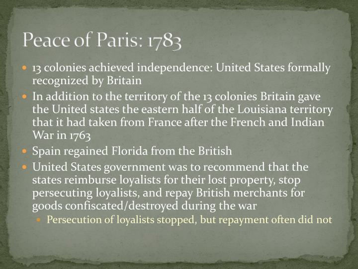 Peace of Paris: 1783