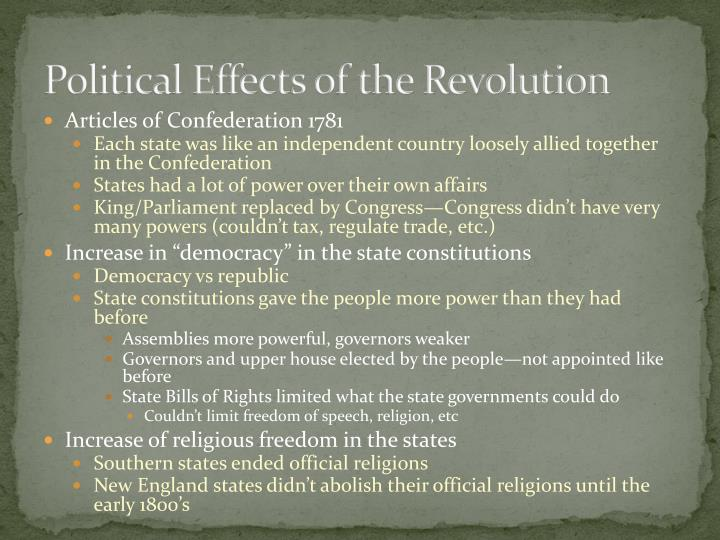 Political Effects of the Revolution