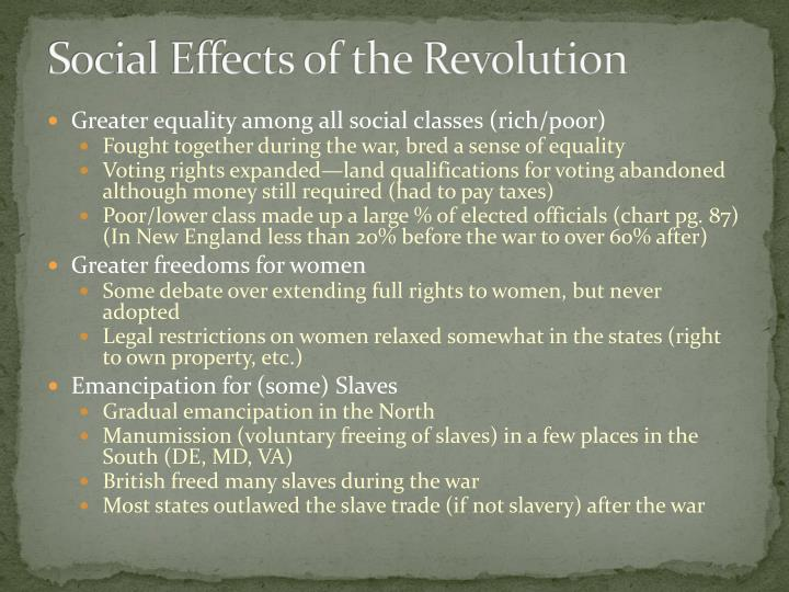 Social Effects of the Revolution