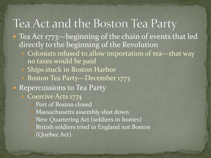 Tea Act and the Boston Tea Party