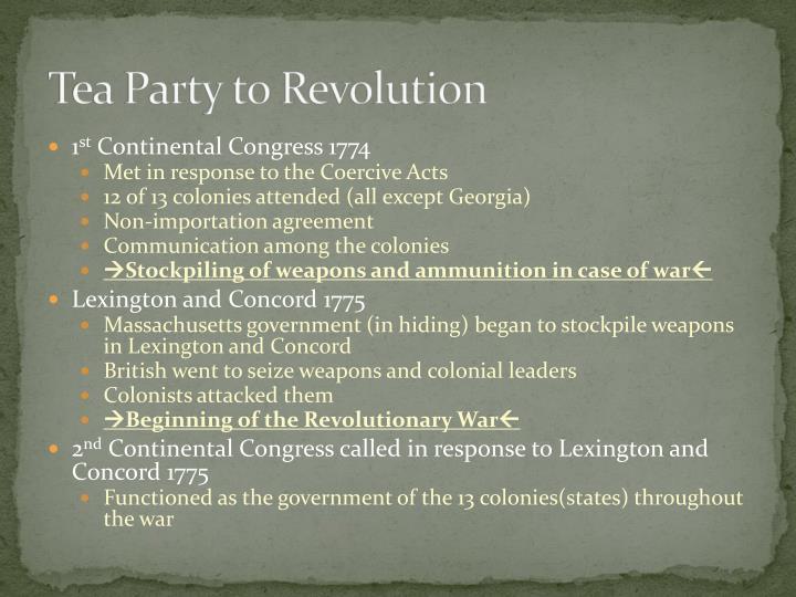 Tea Party to Revolution