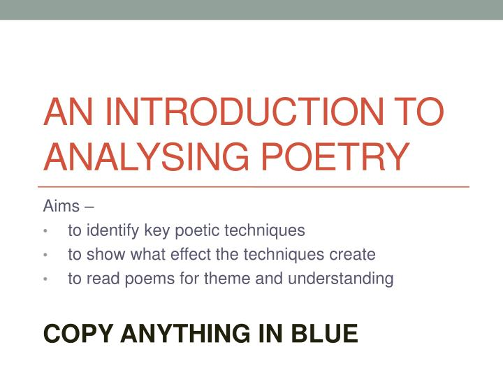 an introduction to analysing poetry n.