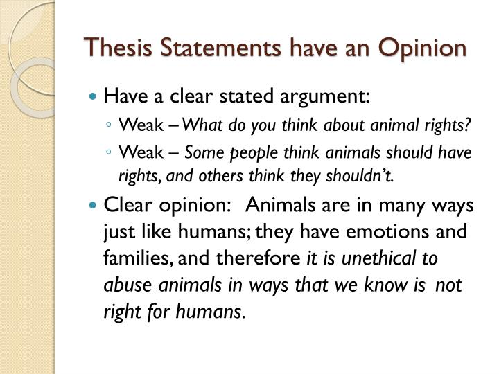thesis statement animal rights