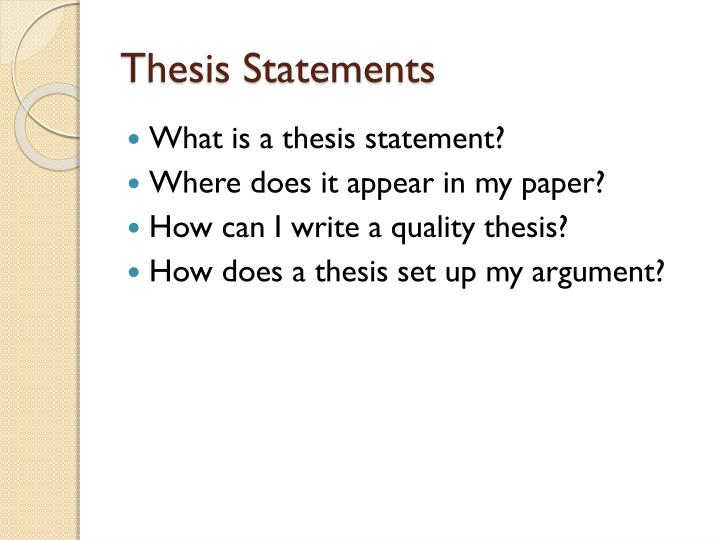 how to set up a thesis statement