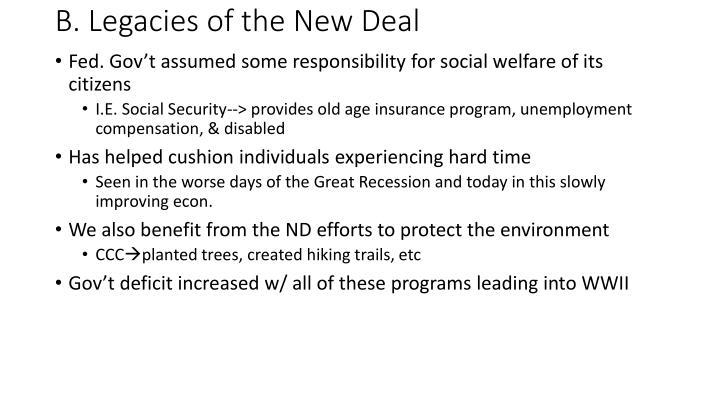 B. Legacies of the New Deal
