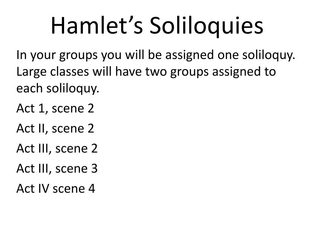 Hamlet S Soliloquies N
