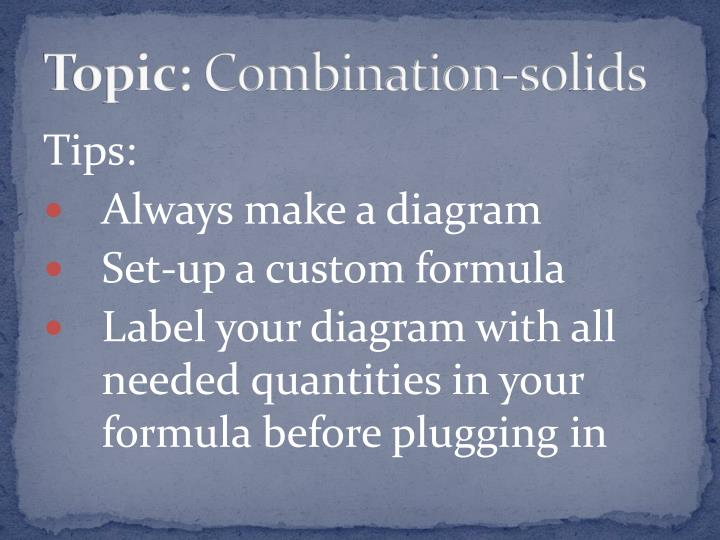 Topic combination solids