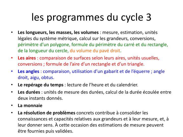 les programmes du cycle 3