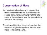 conservation of mass